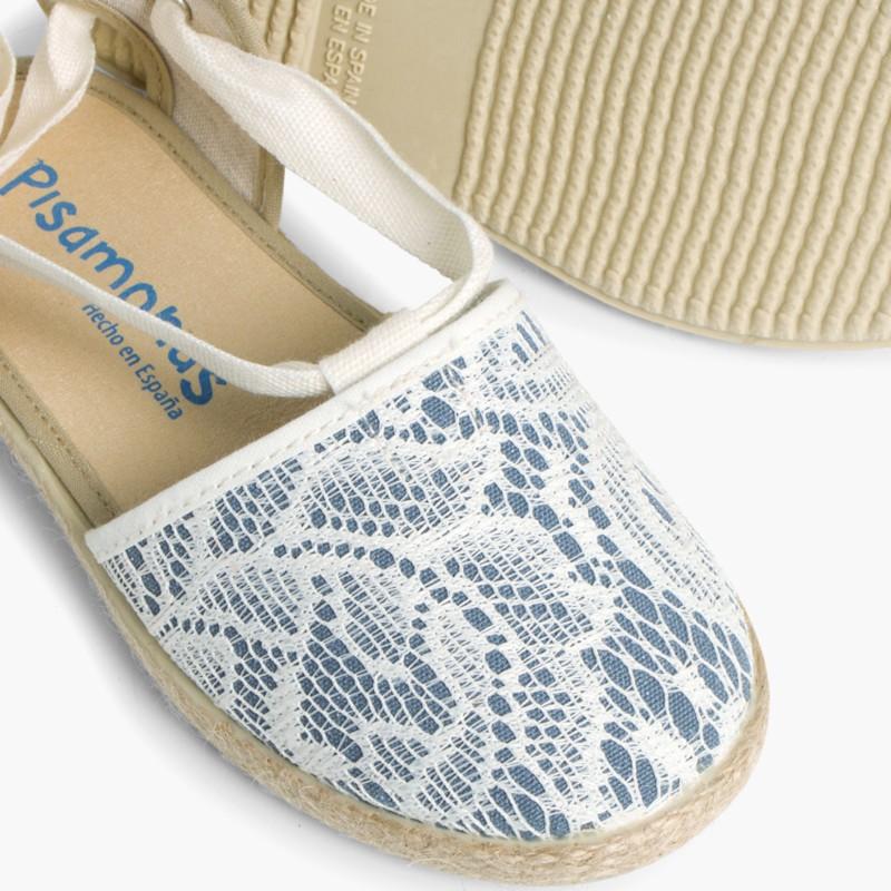 Girls Espadrilles Crochet Blue
