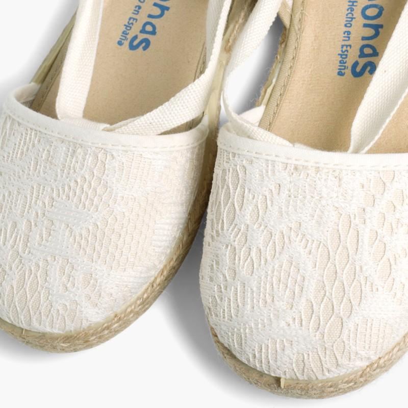 Girls Espadrilles Crochet Beige