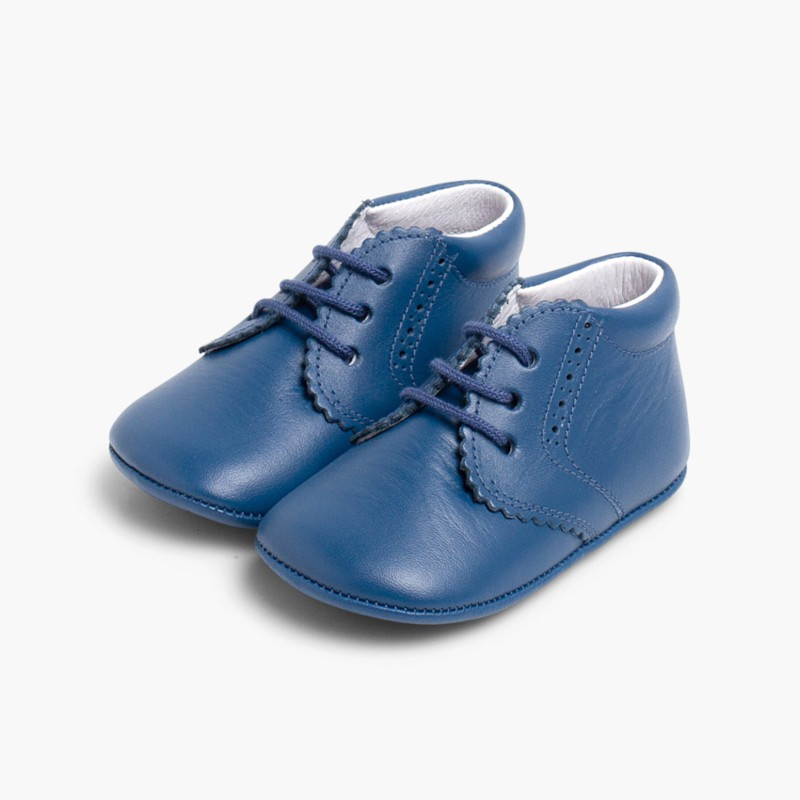 Punch-Hole Baby Boots Blue