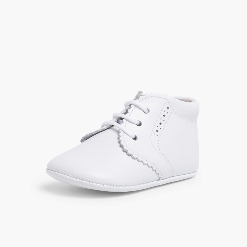 Punch-Hole Baby Boots White