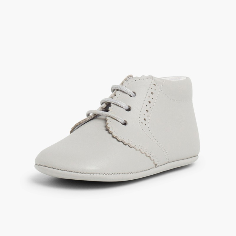 Punch-Hole Baby Boots Light Grey