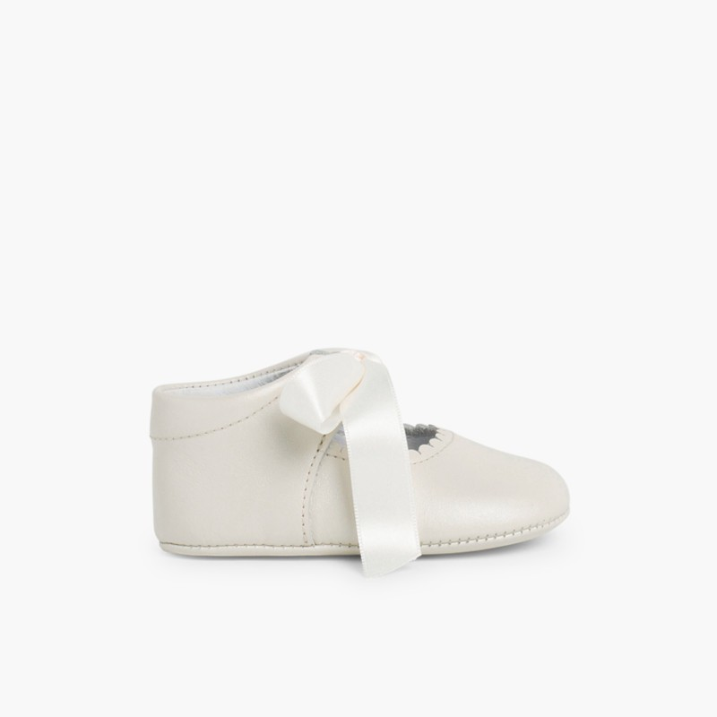 Ceremonial Soft Leather Baby Mary Janes Beige