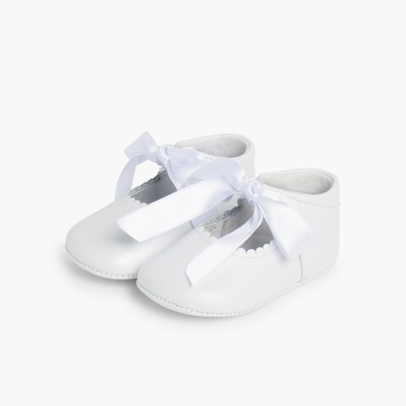Ceremonial Soft Leather Baby Mary Janes White