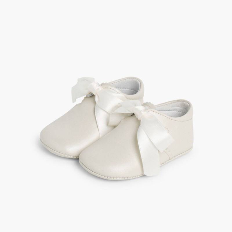 Ceremonial T-Bar Baby Shoes Beige