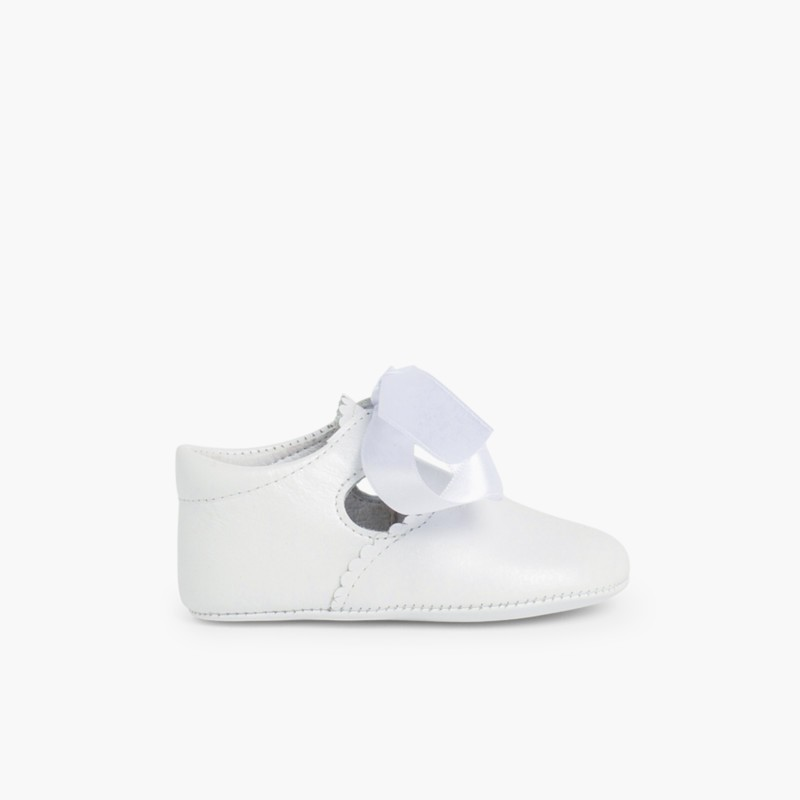 Ceremonial T-Bar Baby Shoes White