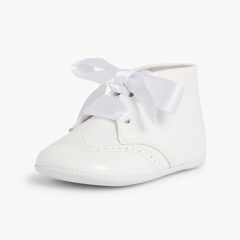 Patent Leather Booties for Baby with Bow White