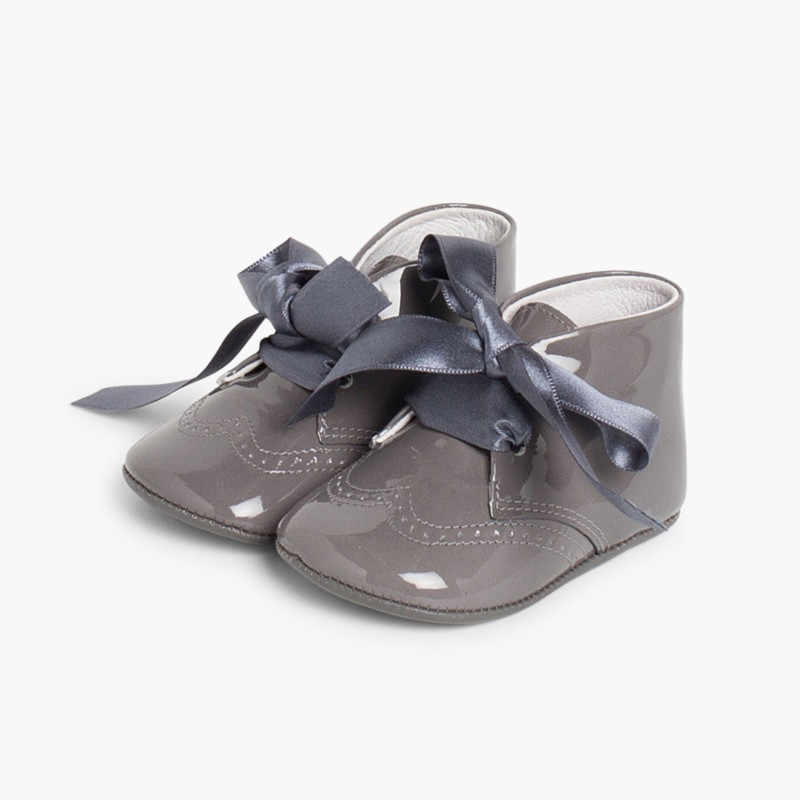 Patent Leather Booties for Baby with Bow Grey