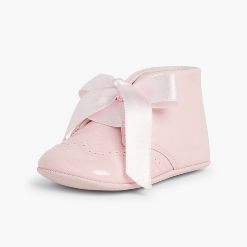 Patent Leather Booties for Baby with Bow Pink