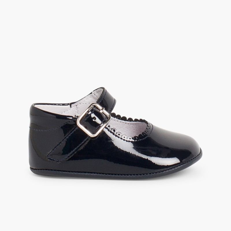 Patent leather Mary Janes for babies with buckle Navy Blue