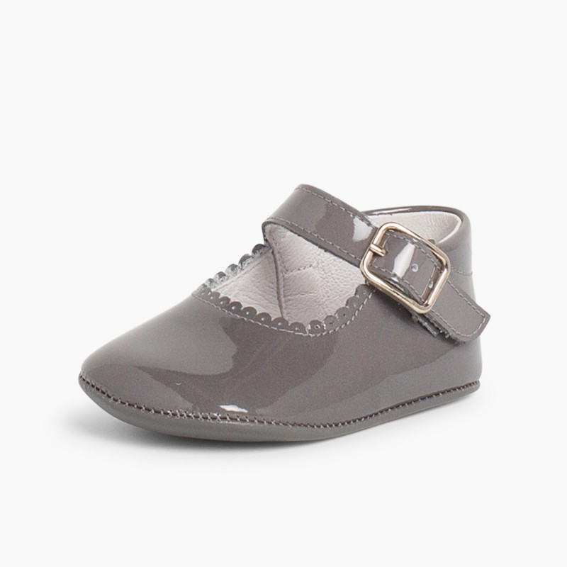 Patent leather Mary Janes for babies with buckle Grey