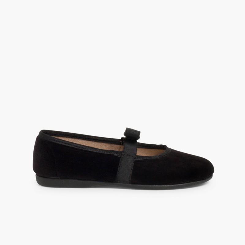 Bow-Shaped Elastic Velvet Ballerinas Black