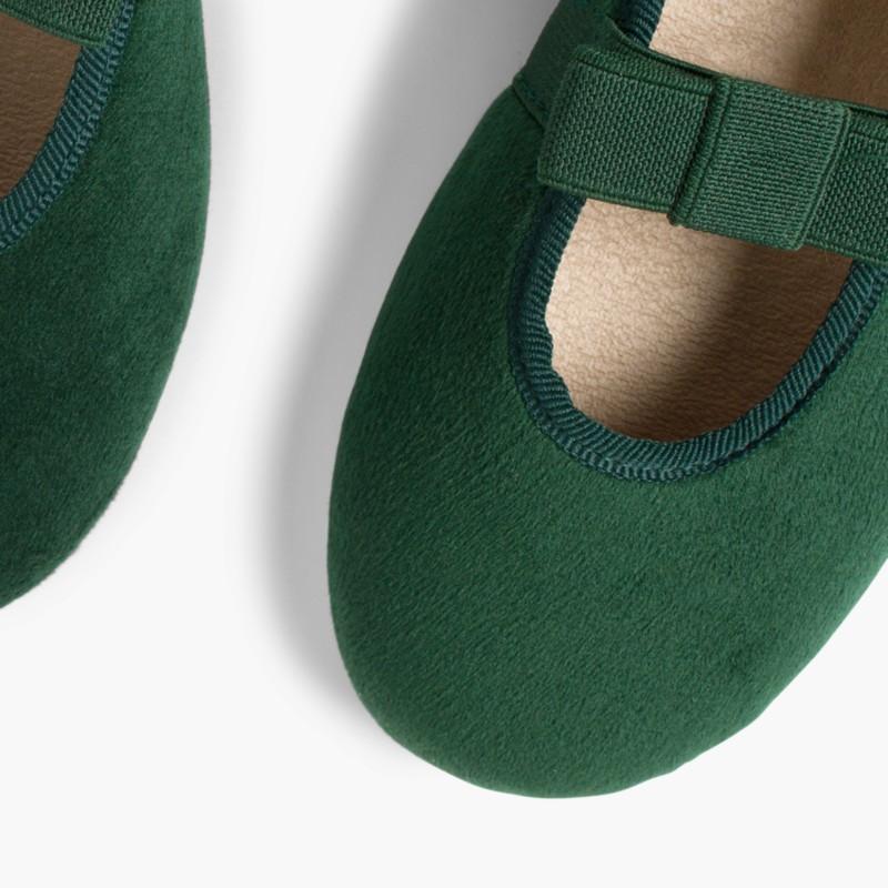 Bow-Shaped Elastic Velvet Ballerinas Green