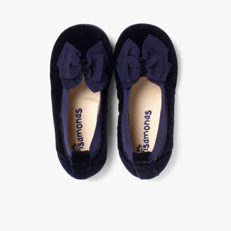 Velvet Ballet Flats with Bow Navy Blue