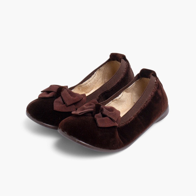 Velvet Ballet Flats with Bow Brown