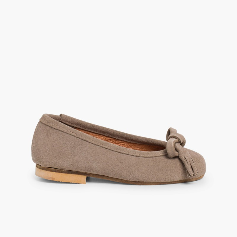 Suede Tassel & Bow Ballet Pumps Taupe