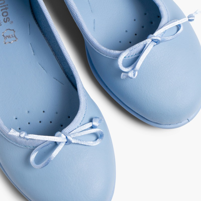 Girl's Washable Leather Ballet Flats Blue