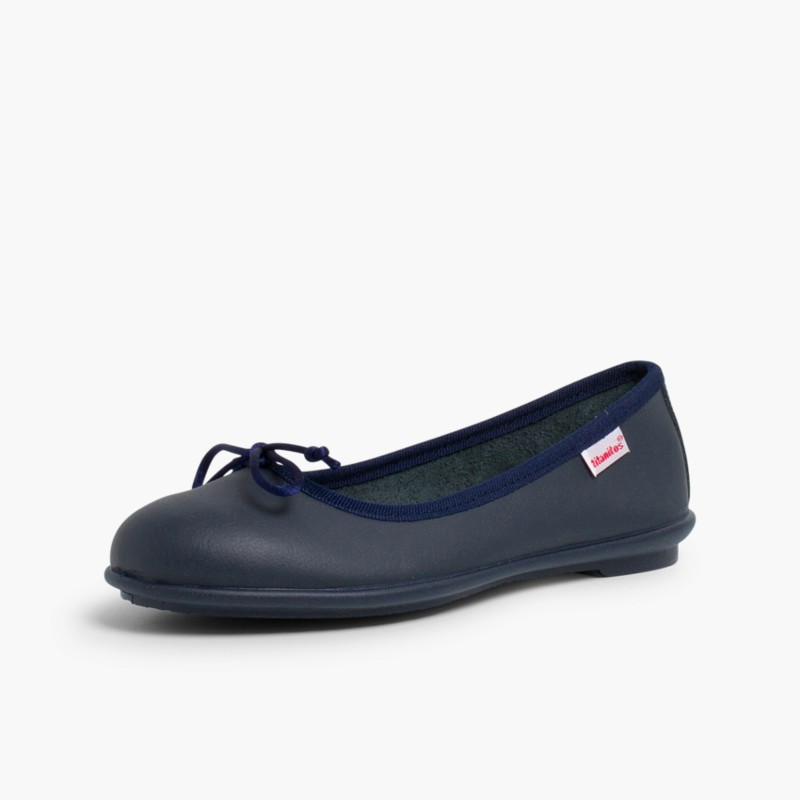 Girl's Washable Leather Ballet Flats Navy Blue