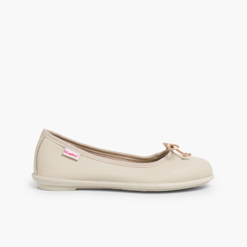 Girl's Washable Leather Ballet Flats Beige