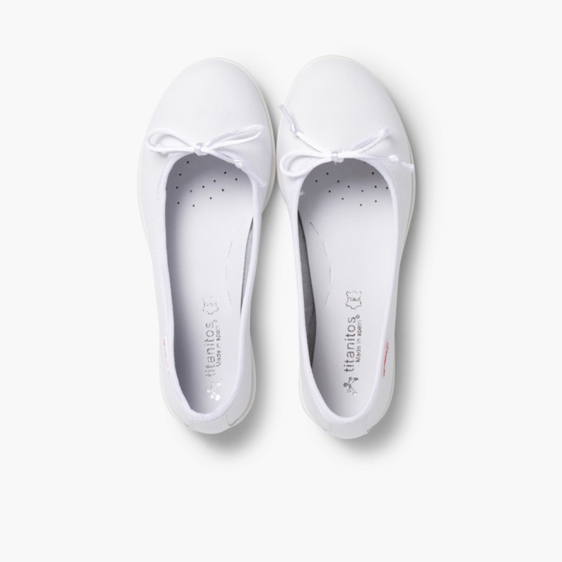 Girl's Washable Leather Ballet Flats White