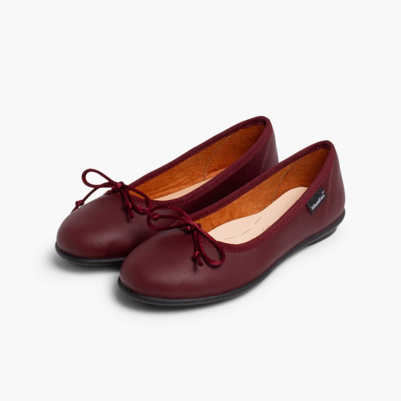 Girl's Washable Leather Ballet Flats Burgundy