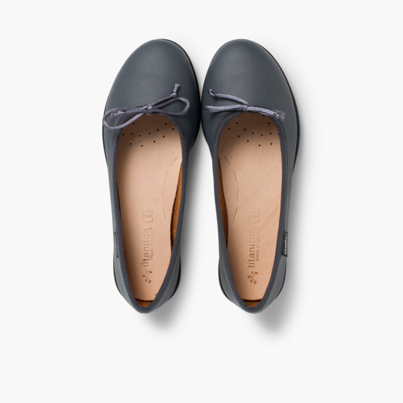 Girl's Washable Leather Ballet Flats Grey