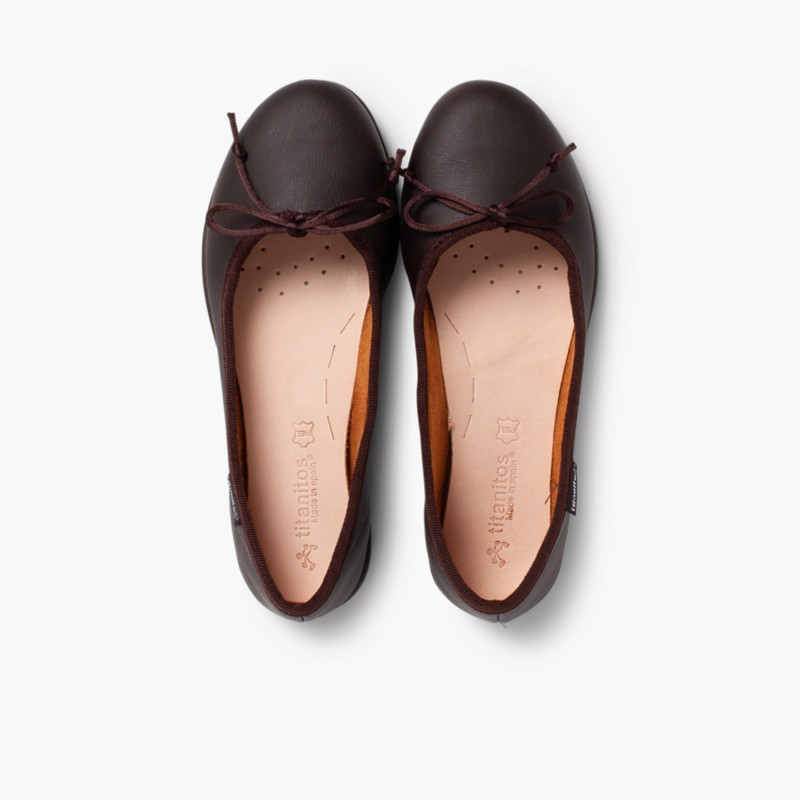 Girl's Washable Leather Ballet Flats Brown