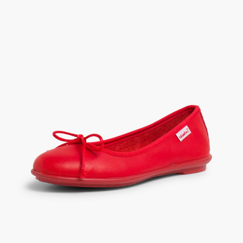 Girl's Washable Leather Ballet Flats Red