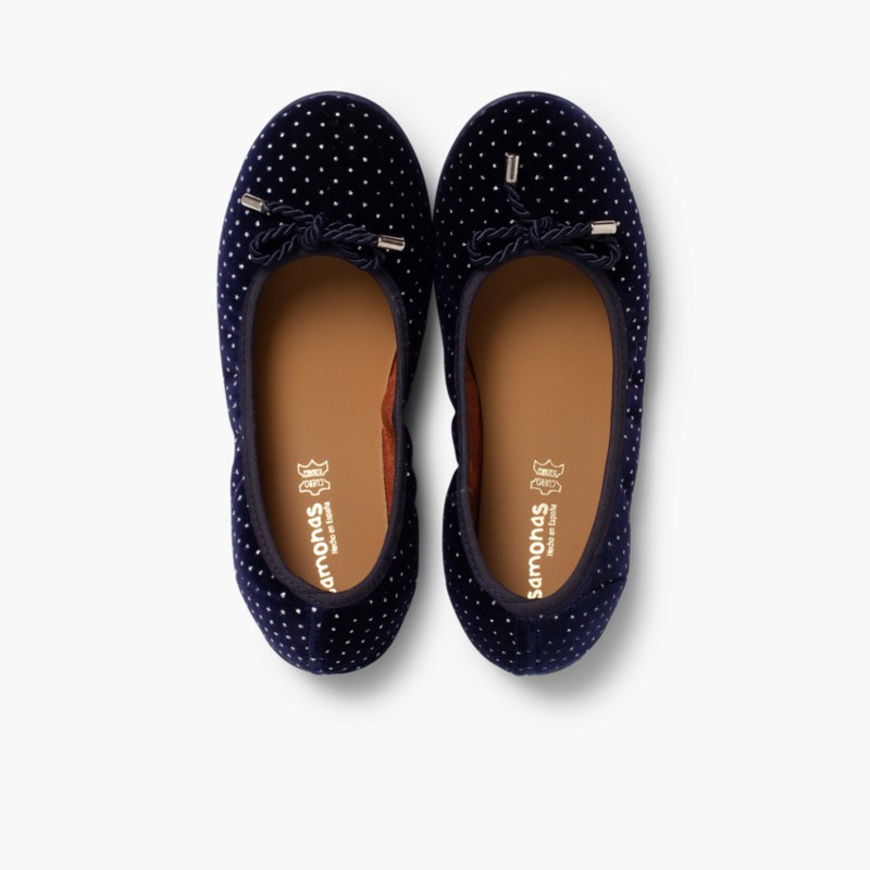 Ballerina shoes in Velvet with Bows and Sparkles Navy Blue