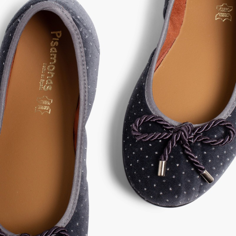 Ballerina shoes in Velvet with Bows and Sparkles Grey