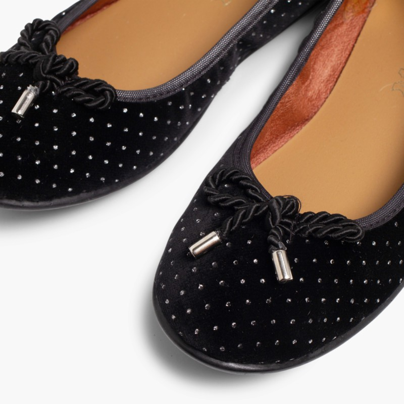 Ballerina shoes in Velvet with Bows and Sparkles Black