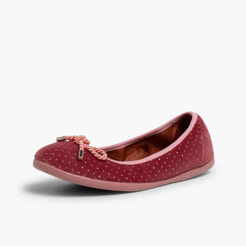 Ballerina shoes in Velvet with Bows and Sparkles Pink