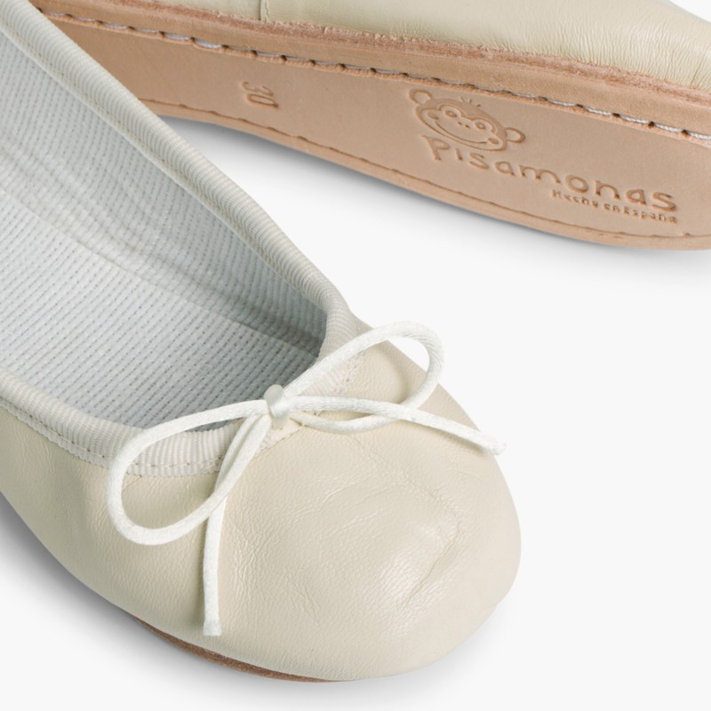 Girls & Womens Leather Ballerinas Beige