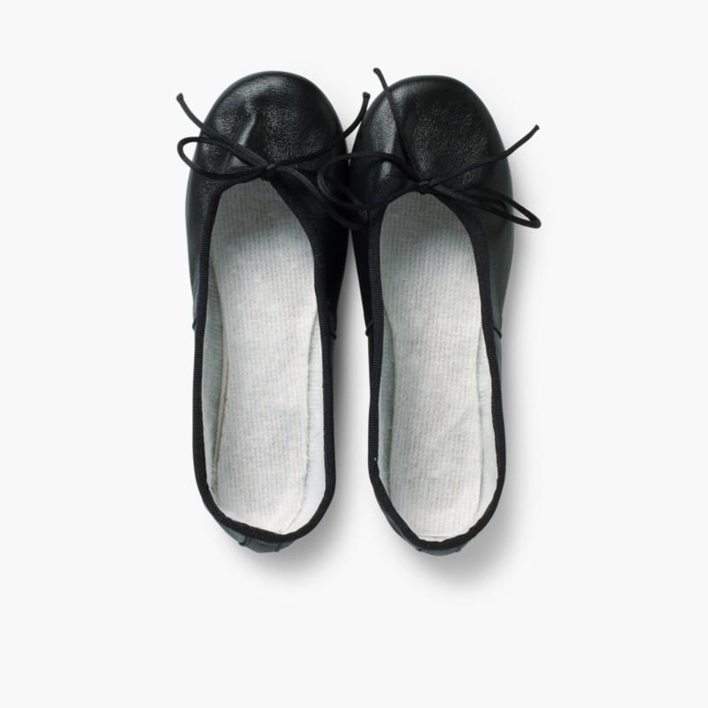 Girls & Womens Leather Ballerinas Black