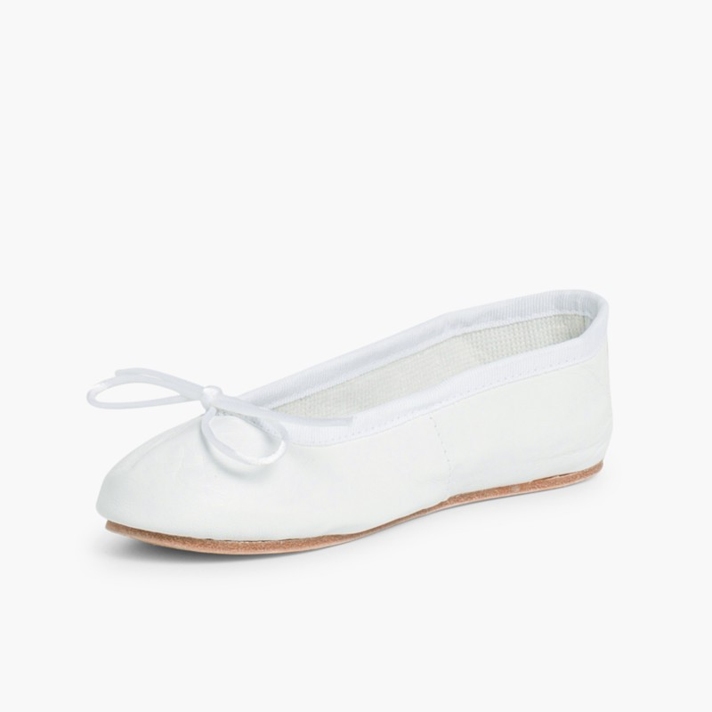 Girls & Womens Leather Ballerinas White