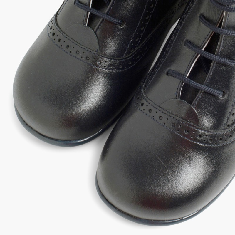 Leather Pascuala Boots Navy Blue