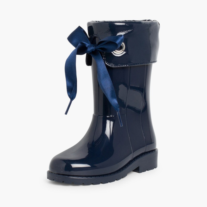 Patent style Wellies for girls by Igor Navy Blue