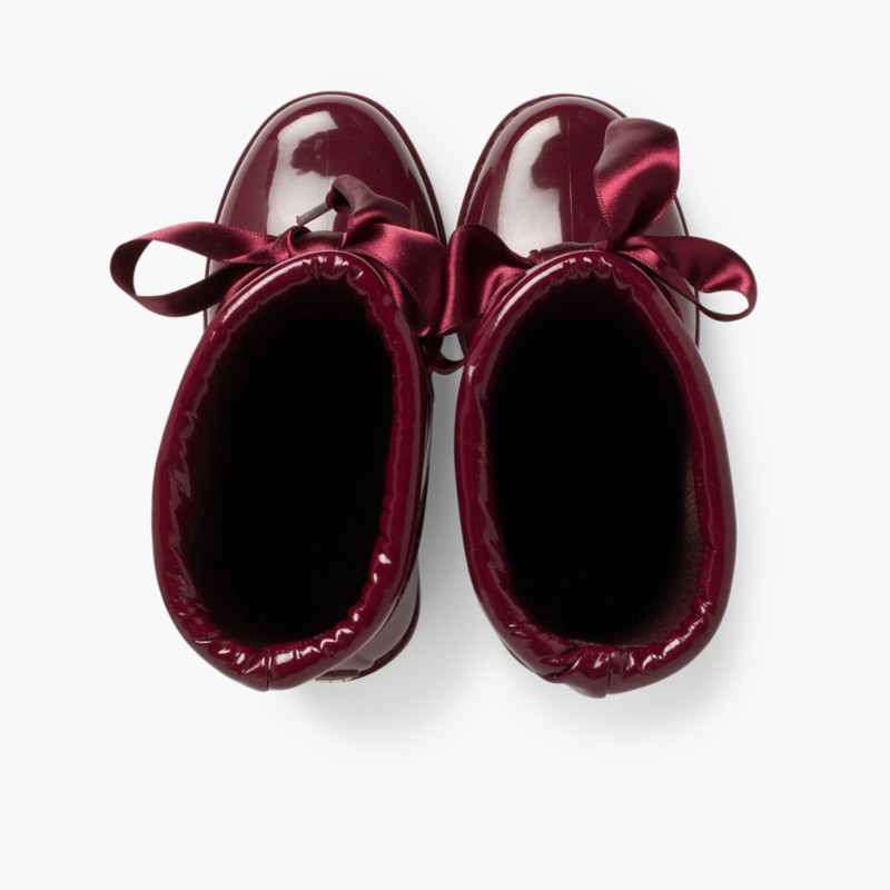 Patent style Wellies for girls by Igor Burgundy