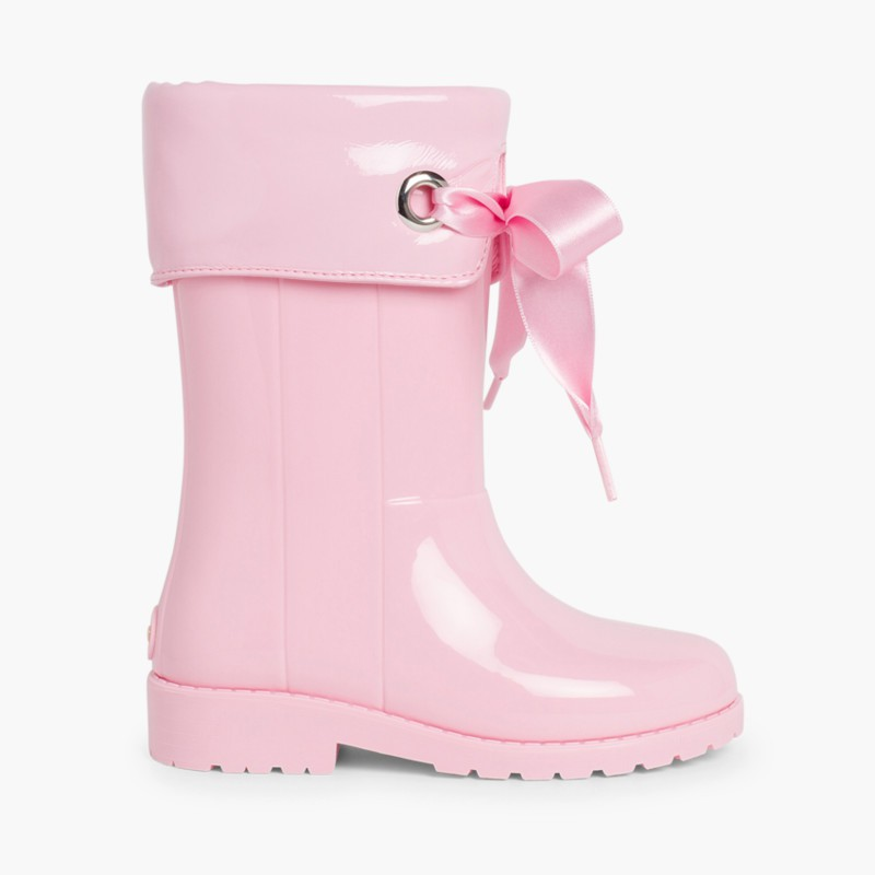 Patent style Wellies for girls by Igor Pink