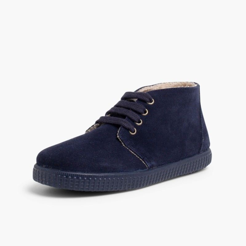 Lace-up boots with faux fur lining Navy Blue