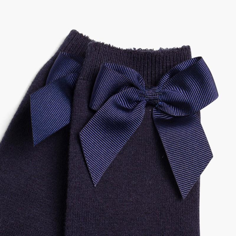 CONDOR High Socks Cotton with Bow Navy Blue