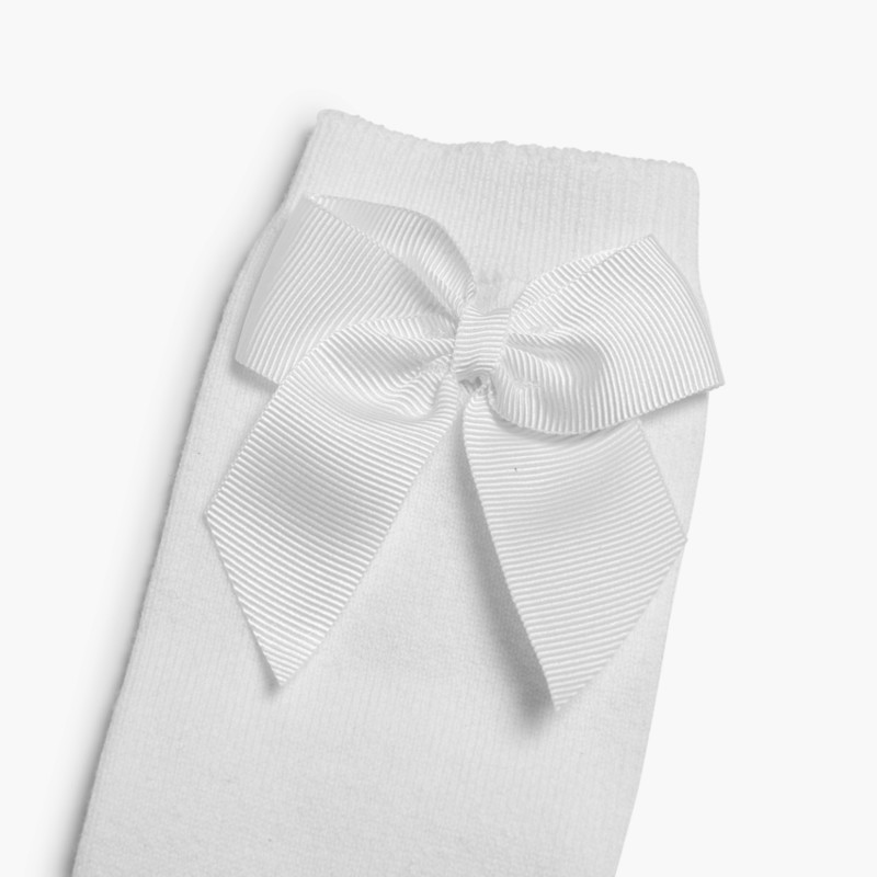 CONDOR High Socks Cotton with Bow White
