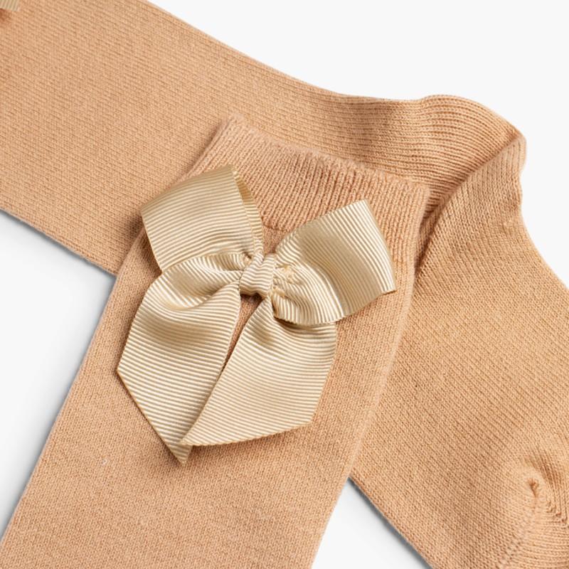 CONDOR High Socks Cotton with Bow Tan