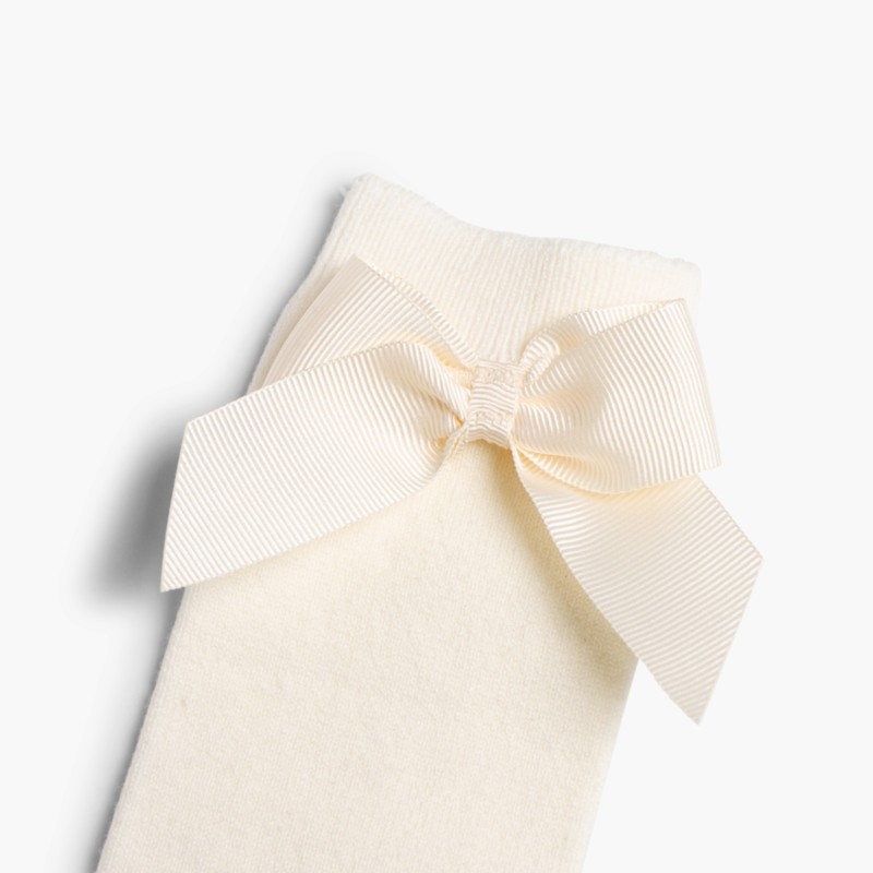 CONDOR High Socks Cotton with Bow Nude