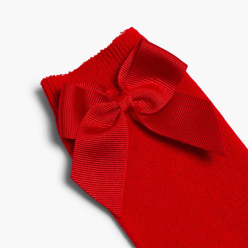 CONDOR High Socks Cotton with Bow Red