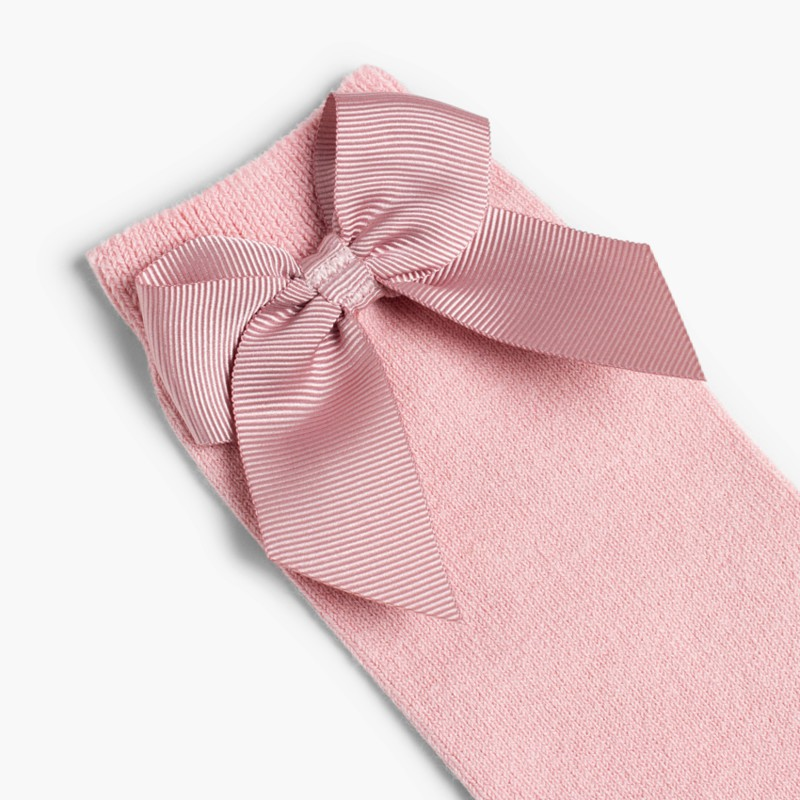 CONDOR High Socks Cotton with Bow Pale Pink