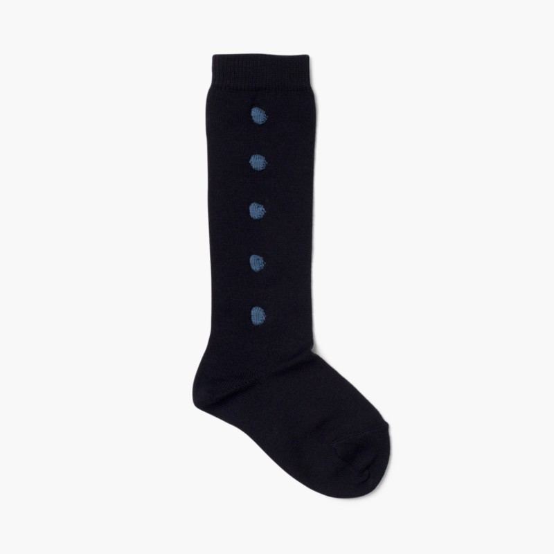 CONDOR High Socks with Polka Dots Navy Blue