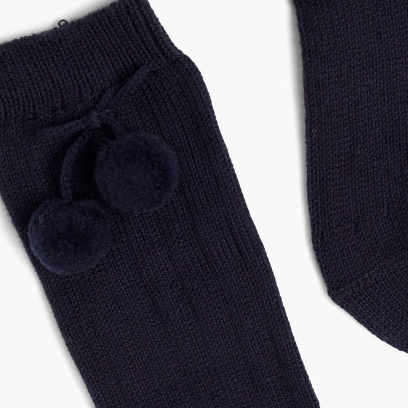 CONDOR Pom Pom Baby Socks Navy Blue