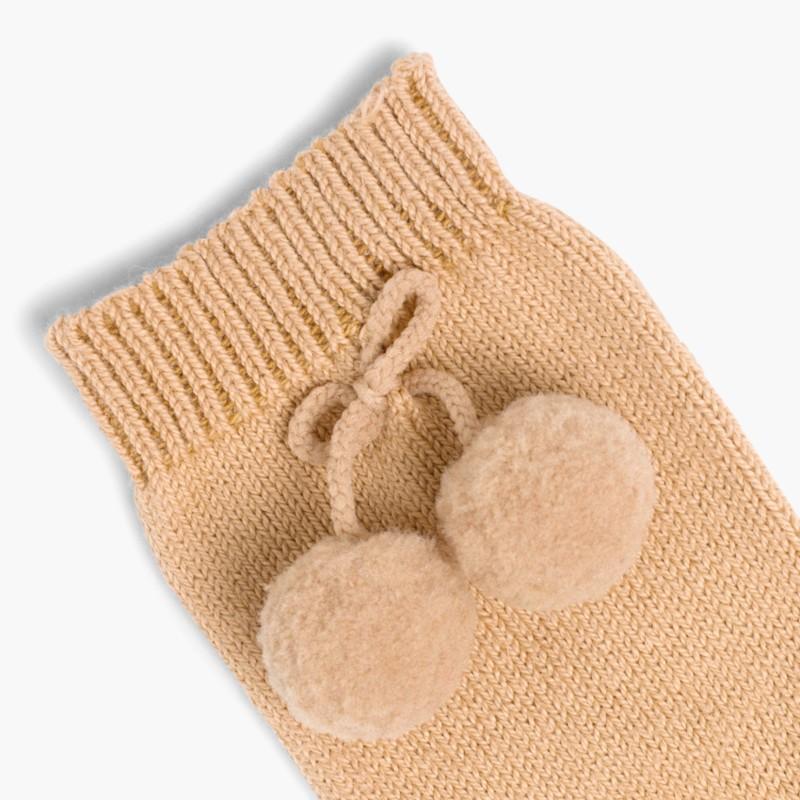 CONDOR Pom Pom Baby Socks Tan