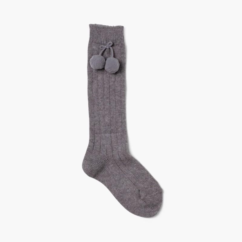 CONDOR Pom Pom Baby Socks Grey