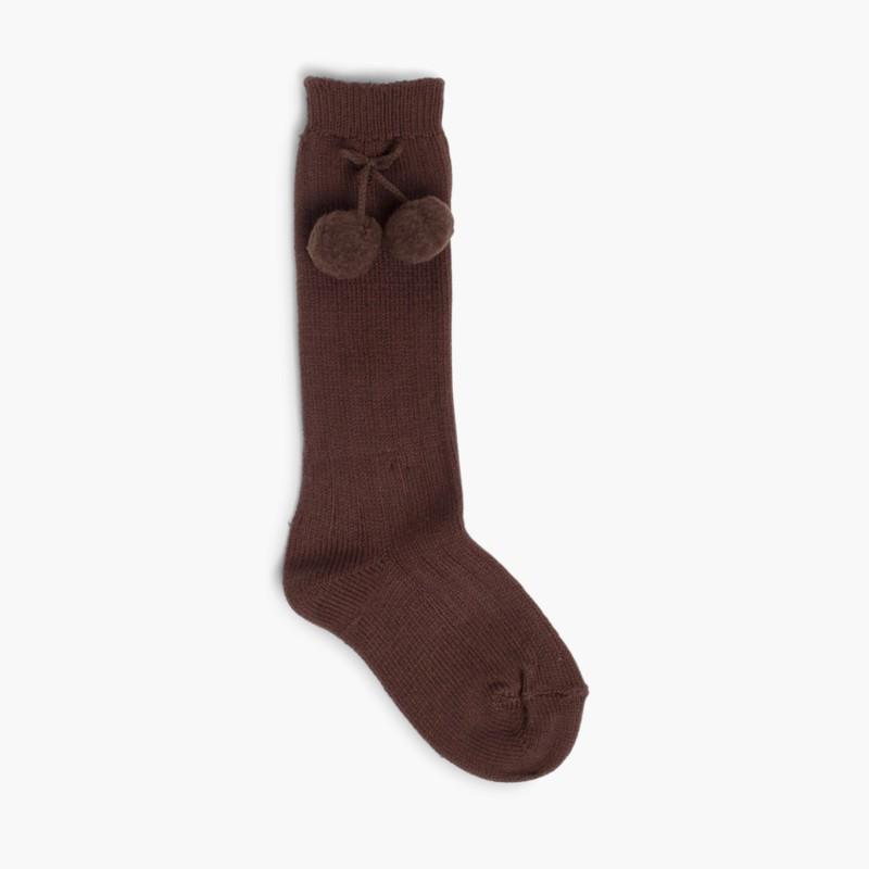 CONDOR Pom Pom Baby Socks Brown